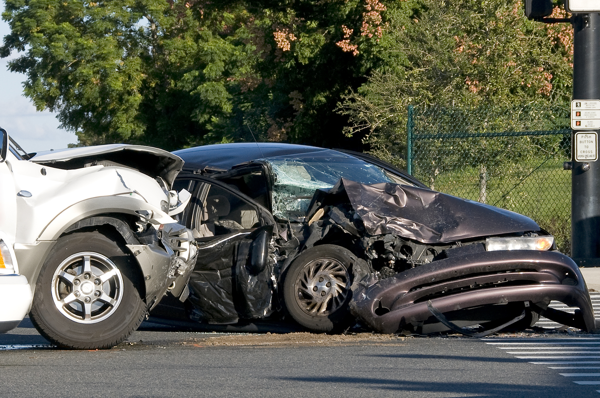 Photo of 2 cars crashed during an accident
